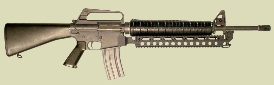 M16 rifle with the Fast Rail accessory mounting rail (Picatinny type rail).
