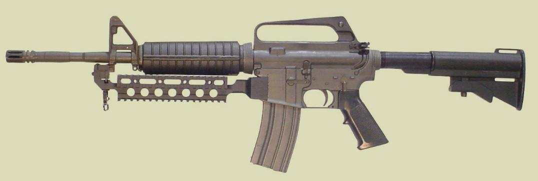 M4 rifle with the Fast Rail accessory mounting rail (Picatinny type rail).