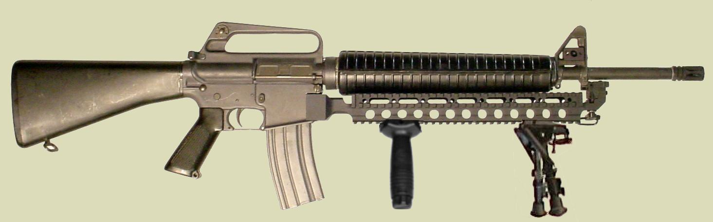 M16 Fast Rail showing a generic grip and Harris bipod attached to the accessory mounting rail.