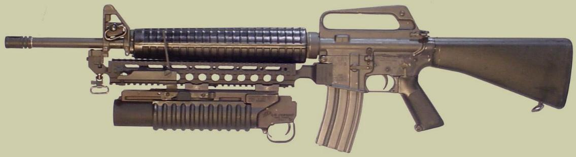 M16 Fast Rail showing the M203PI 40mm Grenade Launcher attached.
